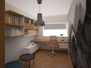 Mieszkanie w bloku Skandynawskie domowe biuro i gabinet od Puku Studio Skandynawski