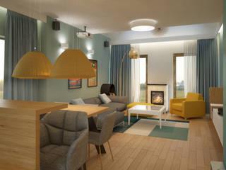 Dom pod Warszawą Nowoczesny salon od Puku Studio Nowoczesny