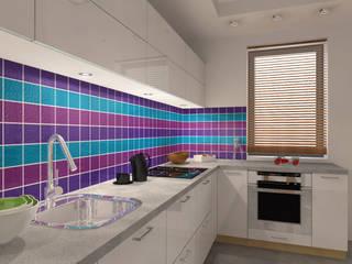 Biała kuchnia z kolorowym akcentem od Icw Studio
