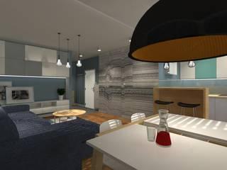 Męskie mieszkanie z akcentem tapet GLAMORA - projekt mieszkania w Koszalinie Nowoczesny salon od Icw Studio Nowoczesny