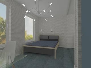Męskie mieszkanie z akcentem tapet GLAMORA - projekt mieszkania w Koszalinie Nowoczesna sypialnia od Icw Studio Nowoczesny
