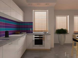 Mieszkanie z kolorowymi akcentami Nowoczesna kuchnia od Icw Studio Nowoczesny