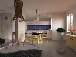 Mieszkanie z kolorowymi akcentami Nowoczesny salon od Icw Studio Nowoczesny