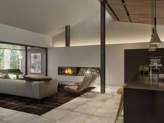 Living Room Salas de estar minimalistas por homify Minimalista Cerâmica