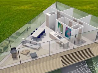 Impressie indeling woonverdieping 3D vogelvlucht:  Woonkamer door Schneijderberg Architectuur & Design