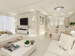 Apartamento R|F Salas de estar clássicas por Manu Vasconcelos Arquitetura + Interiores Clássico