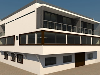 RENDER CONCEPTUAL. PERSPECTIVA FRONTAL.: Casas de estilo moderno por FORMAS ARQUITECTURA