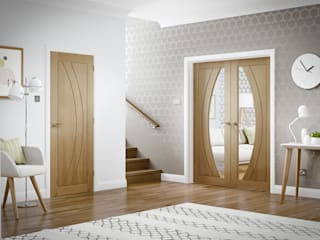 Salerno Oak Glazed Rebated Pair and single solid Internal Door:   by Modern Doors Ltd