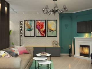 ДизайнМастер Ruang Keluarga Modern Turquoise