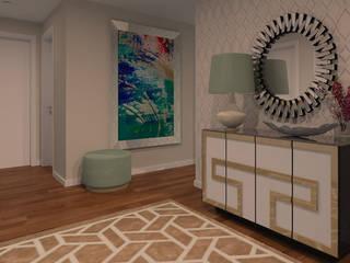 Projeto 3D - Apartamento Montijo: Corredores e halls de entrada  por Veludo Vermelho Design de Interiores