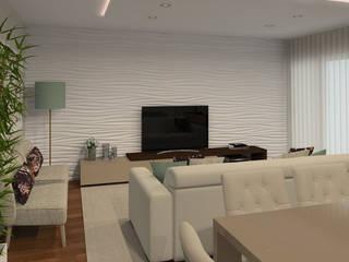 Projeto 3D - Apartamento Montijo: Salas de estar modernas por Veludo Vermelho Design de Interiores