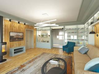 Гостиная в коттедже: Гостиная в . Автор – A&D-interior