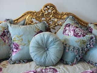 JULIETTE Louis XV French Country Silk Tiffany Blue Floral Sofa Couch:   by REGAL SOFAS AND INTERIORS