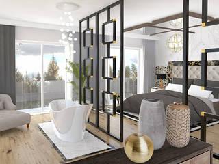 POKÓJ KĄPIELOWY I SYPIALNIA: styl , w kategorii Sypialnia zaprojektowany przez Karolina Radoń Design
