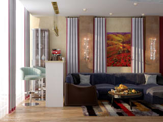 Eclectic style living room by Студия интерьерного дизайна happy.design Eclectic