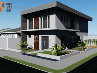 RESIDÊNCIAS GEMINADAS E CENTRO COMERCIAL Casas modernas por Rafaella Vessoni - Projete-se Arquitetura e Interiores Moderno