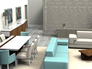 Projeto 3D Sala:   por APBS - Decoração de Interiores, Lda,Moderno
