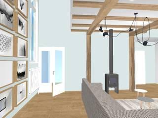 Totaalplan voor een tot woonhuis verbouwd kerkje:  Woonkamer door Cristy Brandriet Interieurvormgeving, Scandinavisch