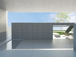 Residência MG Corredores, halls e escadas minimalistas por Daher Jardim Minimalista