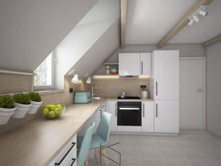 Projekt kuchni na poddaszu: styl , w kategorii Kuchnia zaprojektowany przez KN.wnętrza