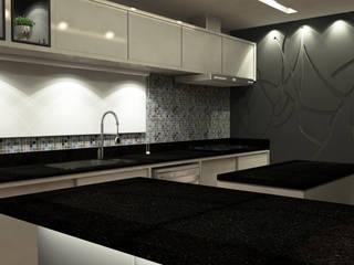 Residência I J+R Treez Arquitetura+Engenharia Cozinhas modernas MDF Azul