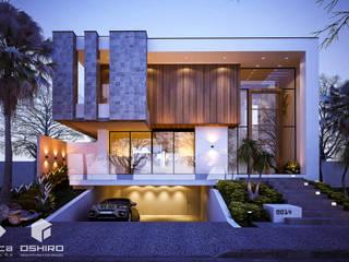 PROJETO RESIDENCIAL DE UM SOBRADO NO CONDOMÍNIO ECOVILLE.: Casas  por Oshiro Arquitetura