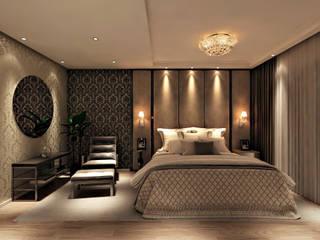 Suite Master: Quartos  por Flávia Kloss Arquitetura de Interiores,Moderno MDF