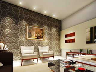 Projeto de Interior - Casa C e F : Salas de estar  por Vanessa Resende Arquitetura e Interiores ,Moderno