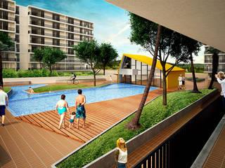URB. BALCONES DE FLOR AMARILLO: Casas de estilo  por MC Arquitectos, Moderno