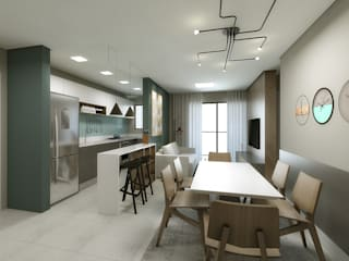 Living RSG+: Salas de estar  por AN Arquitetura,Escandinavo