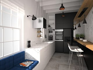 OES architekci Modern kitchen Black