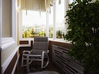 Проект 3-х комнатной квартиры в современном стиле: Tерраса в . Автор – Инна Михайская, Модерн