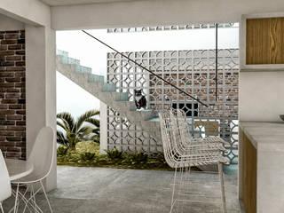 Corredor y Escalera: Pasillos y recibidores de estilo  por KINI ARQUITECTOS