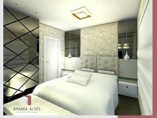Projeto de Interiores - Quarto Casal:   por Amanda Alves Arquitetura e Interiores,Moderno