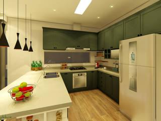 Cocinas de estilo moderno por Oliveira Arquitetura