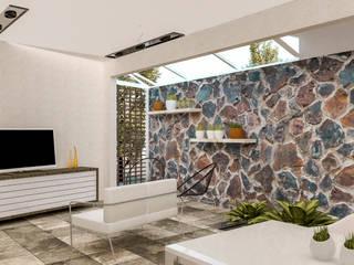 Sala de estar.: Salas de estilo moderno por KINI ARQUITECTOS