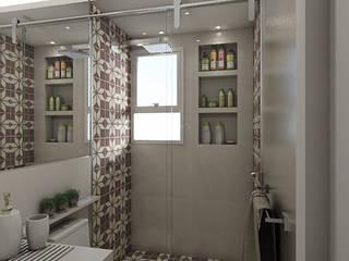 Reforma residencial - Apartamento duplex 200m² em São Bernardo do Campo: Banheiros  por Camila Carloni - Arquitetura e Interiores,Moderno