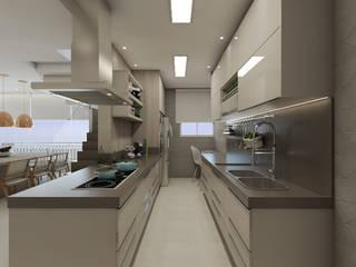 Reforma residencial - Apartamento duplex 200m² em São Bernardo do Campo: Cozinhas  por Camila Carloni - Arquitetura e Interiores,Moderno