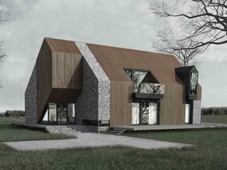 Dom Drewno+: styl nowoczesne, w kategorii Domy zaprojektowany przez ZA-ARCHITEKT