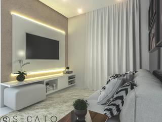 Apto de 65m² Secato Arquitetura e Interiores Sala de estarTV e mobiliário