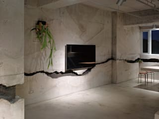 Phòng khách phong cách tối giản bởi 本晴設計 Tối giản
