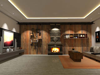 @idearprojecao Living roomFireplaces & accessories Stone Wood effect
