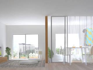 27号棟のリノベーション apartment renovation No.27 モダンデザインの リビング の 平野崇建築設計事務所 TAKASHI HIRANO ARCHITECTS モダン