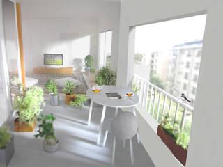 27号棟のリノベーション apartment renovation No.27 モダンデザインの テラス の 平野崇建築設計事務所 TAKASHI HIRANO ARCHITECTS モダン