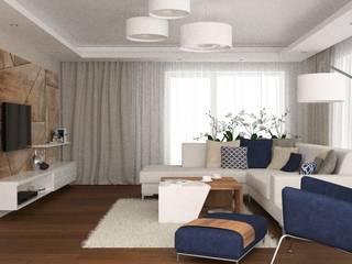 OES architekci Modern living room Stone Beige