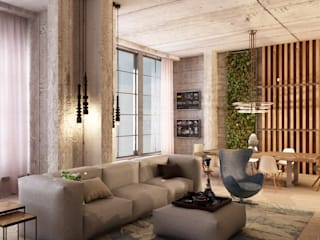 Лофт в пентхаусе ЖК Оникс Гостиная в стиле лофт от Студия дизайна интерьеров MAZROV Лофт