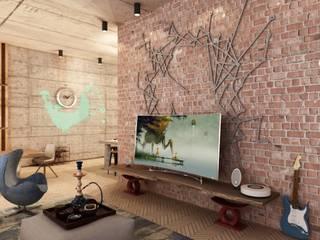 Лофт в пентхаусе ЖК Оникс: Гостиная в . Автор – Студия дизайна интерьеров MAZROV