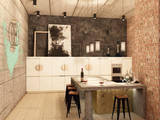 Лофт в пентхаусе ЖК Оникс Кухня в стиле лофт от Студия дизайна интерьеров MAZROV Лофт