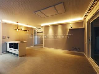 심플하고 모던하게 디자인한 아파트 인테리어 30평 모던스타일 거실 by 쉼표디자인SHUIMPYO DESIGN 모던