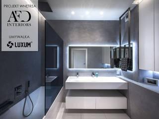 Nowoczesna łazienka z umywalką na wymiar. Nowoczesna łazienka od Luxum Nowoczesny